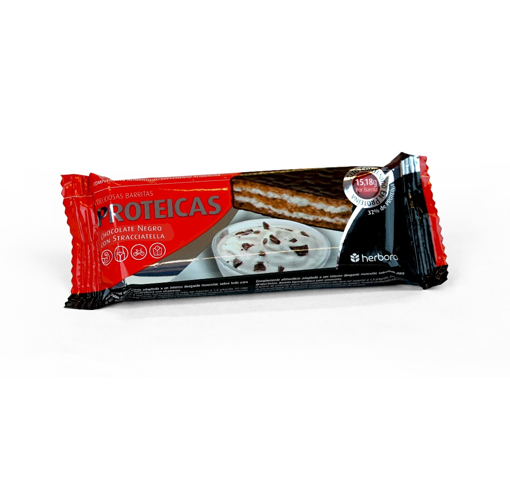 Barrita proteica chocolate negro y stracciatella - 47 g